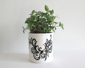 Beautiful Abstract Black Flower Pot, Original Design