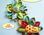 Fabric Flower, Fabric Flower Pattern,  Kanzashi Flower PDF Pattern, Japanese Kanzashi, Fabric Flowers, Flower Pin, Instant Download