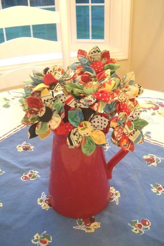 Kanzashi Style Fabric Flower Bouquet PDF Pattern,  Easy Design by FootLooseFancyFree on Etsy