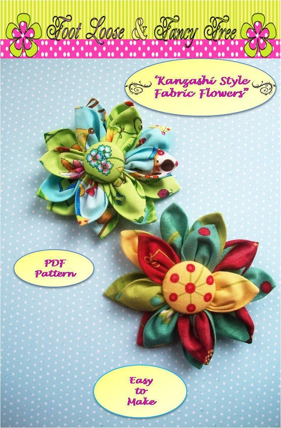 Fabric Flower, Fabric Flower Pattern,  Kanzashi Flower PDF Pattern, Japanese Kanzashi, Fabric Flowers, Flower Pin, Instant Download