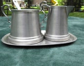 Vintage Pewter Sugar and Creamer Set with Tray and Silver Spoon FREE SHIPPING