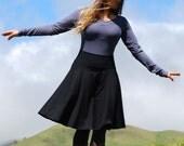 Women's Circle Skirt Black Organic Cotton Blend