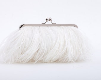 Ostrich Feather Clutch - White - wedding purse - bridal clutch - monogram