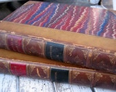 Antique leather books, British poet Thomas Chatterton, 1871, marbled covers and endpapers