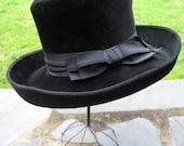 REDUCED.....  Vintage ladies women's hat, wool felt Borsalino, Nordstrom Best, chic steampunk made in Italy.