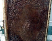Antique leather book, History of the Holy Bible, illustrated, 1873 publication