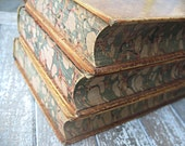 Antique leather books, set of 3, History of England, beautiful marbled pages
