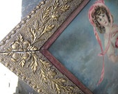 Vintage print in large gold gesso frame with velvet, beautiful