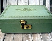 Reserved for Gabrielle...Vintage mint green jewelry box with pink velvet interior, filled with vintage game pieces