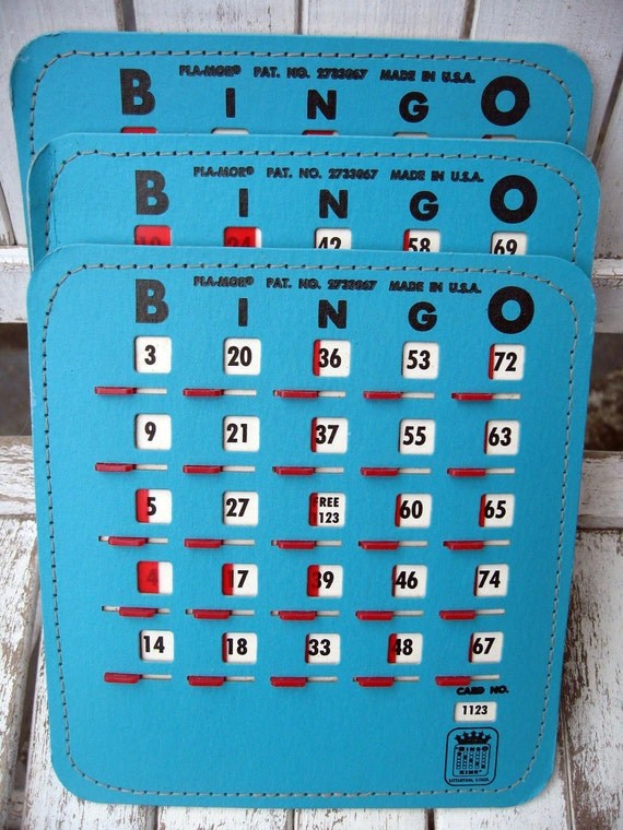 Turquoise blue bingo cards....crowns...mixed media