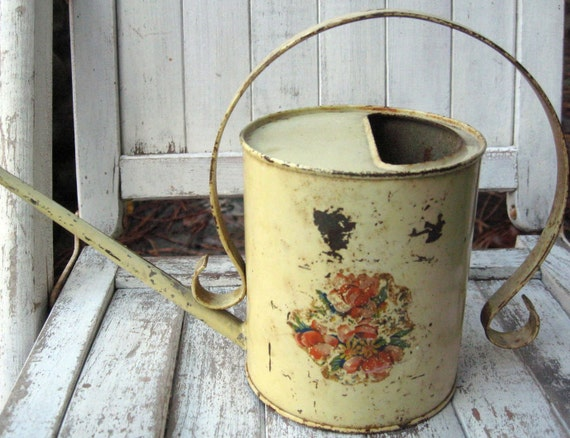 Vintage watering can display only floral decal on cream