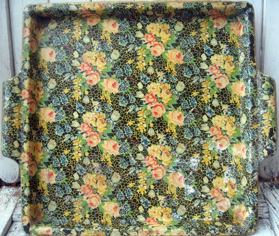 Vintage chintz tray with roses, made in Japan, floral tray