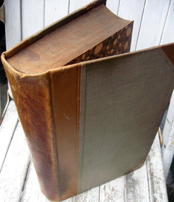 Antique vintage book with color and black and white illustrations, marbled pages