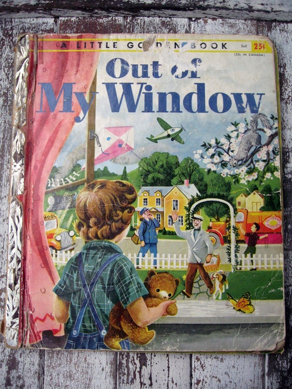 Vintage LGB Little Golden Book, Out of My Window, 1955, sweet pictures