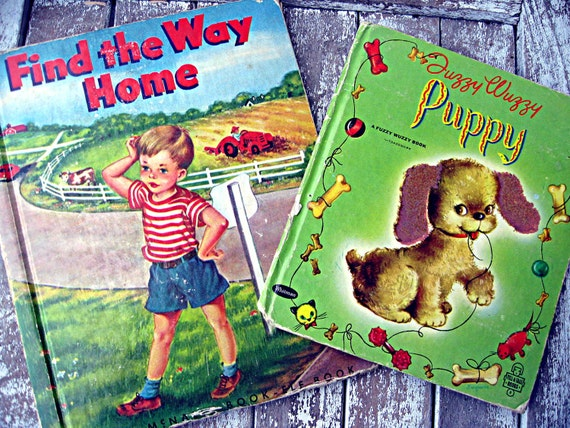 Vintage children's books, set of two, whitman fuzzy wuzzy book, elf book, colorful child's books, new baby gift, child's gift books