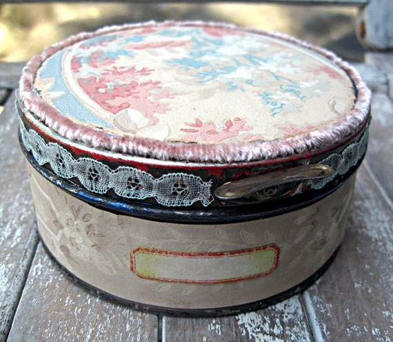 Vintage tin with wallpaper, lace trim, studio storage, cute round storage tin, OOAK