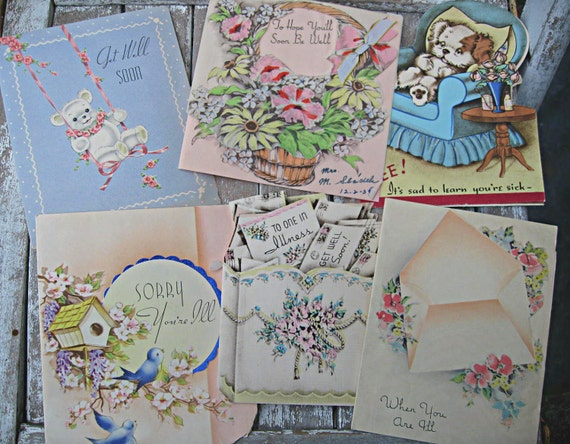 Vintage get well cards from the 1930's-40's, charming graphics