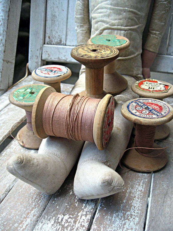 Vintage large wooden spools, european sewing notions, awesome labels