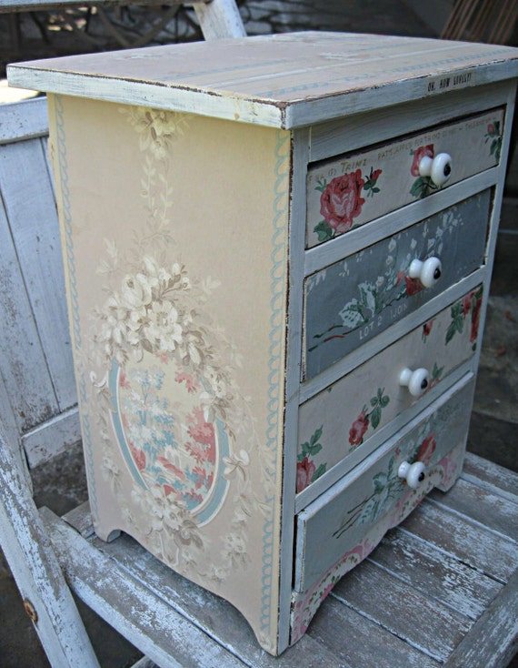 Small wood chest with drawers covered with vintage wallpaper, OOAK storage