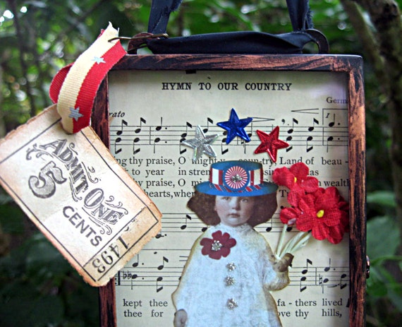 OOAK patriotic mixed media shadowbox, 4th of July, patriotic girl with flowers