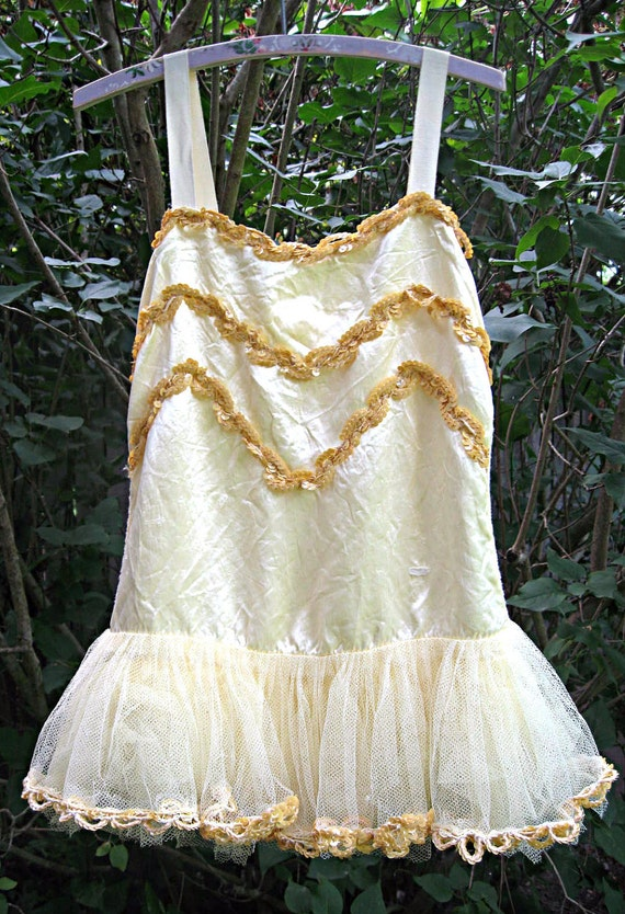 Vintage girl's tutu/ballet dress, yellow with sequins, satin and tulle