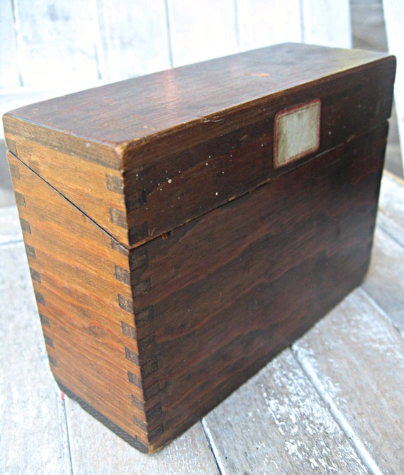 Vintage wood file box with dovetailed corners, Mead's File Index, oak box, small size