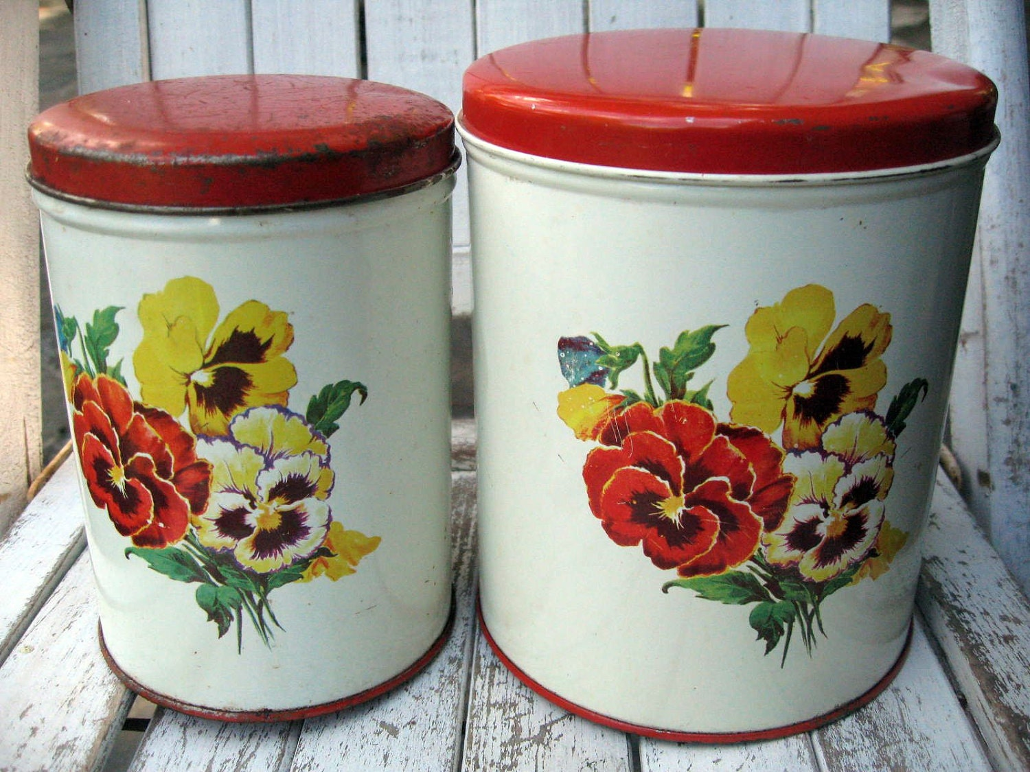 Vintage metal kitchen canisters with pansies farmhouse