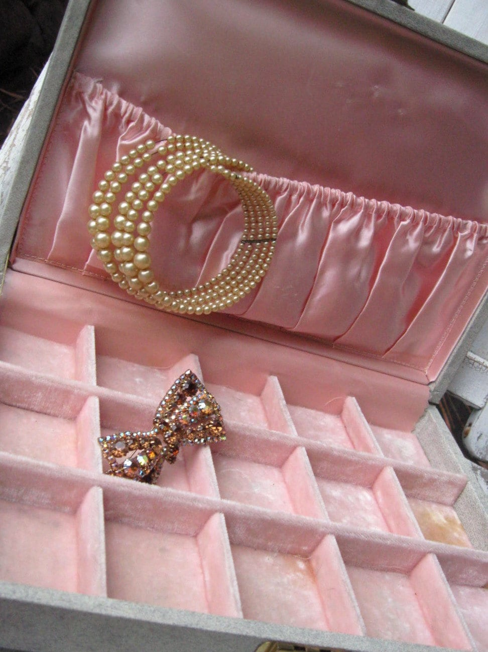 Vintage Jewelry Box With Pink Velvet And Satin Lining