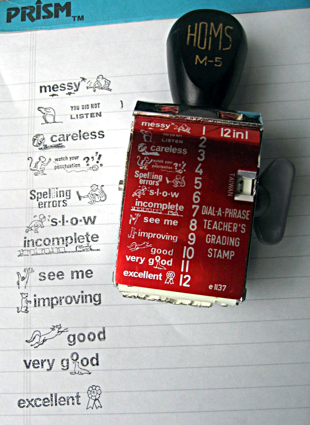 Vintage Teacher S Dial A Phrase Grading Stamp Great For