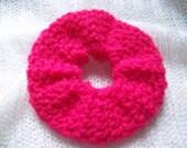 Bright Pink Crochet Scrunchie