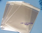 50 4 5/8 x 5 3/4 Clear Resealable Cello Bag For Cards, Pictures and more