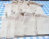 4x6 Drawstring Plain/Natural  Muslin Bags