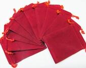 3x4 Plain Red Velour Bags - 10 PCK