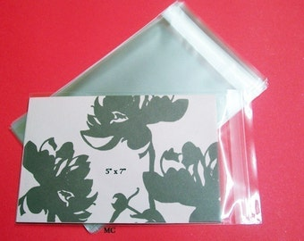 50  5 x 7  Clear Resealable Cello Bag Envelopes For Cards, Pictures and more