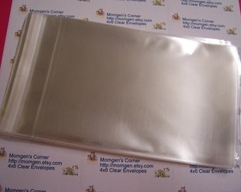 50  4  x 6  Clear Resealable Cello Bag Envelopes For Cards, Pictures and more