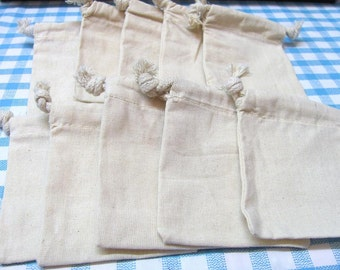 4x6 Drawstring Plain/Natural  Muslin Bags