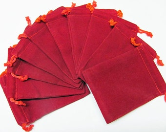 3x4 Plain Red Velour Bags - 10 PCK