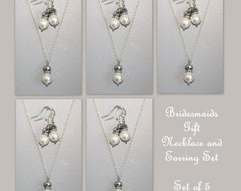 Set of 5, Bridesmaid Gift Set,  Swarovski White Pearl Bridesmaid Jewelry Set, Wedding Jewelry Set, Bridal Party Gift, White Pearl Necklace