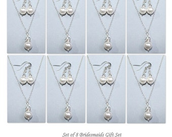 Bridesmaid Gift, Set of 8 Bridesmaid Gift,  Swarovski White Pearl Necklace and Earring Set, Bridesmaid Jewelry Set of 8, Wedding Jewelry Set