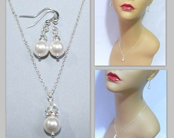 Bridesmaid Gift,  Swarovski White Pearl Necklace and Earring Set, Bridesmaid Jewelry Set, Will You Be My Bridesmaid, Bridal Party Jewelry