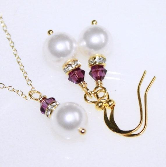 Swarovski White Pearl, Amethyst and Bridesmaid Jewelry Set in Gold, Swarovski Bridal Jewelry Set, Wedding Jewelry Set, Plum Jewelry Set