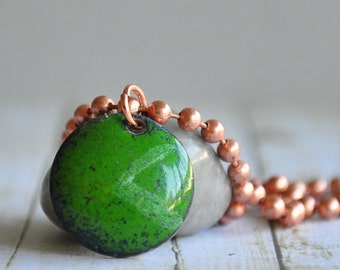Enamel on Copper Green Domed Circle Arrow Necklace