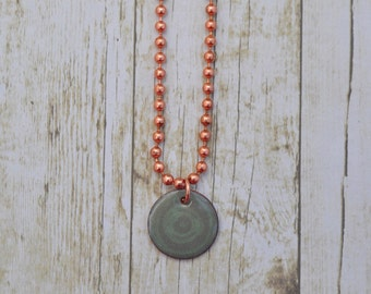 Enamel on Copper Grey Circle Bullseye Pendant Necklace
