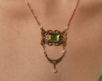 Emerald Princess Elegant Mucha Art Nouveau style Necklace and Earrings SET