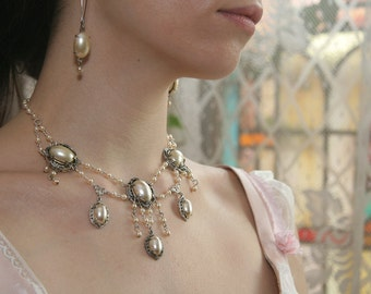 Bridal Snow White Silver French Pearl Princess Necklace