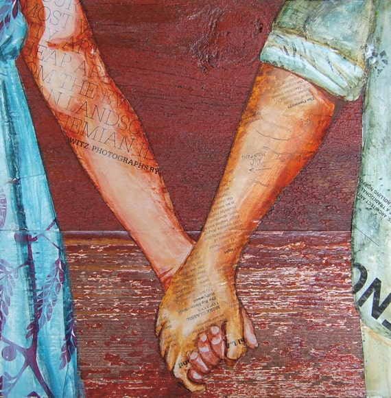 "Couple Holding Hands, ""Two Lovers Entwined Passed Me By"",  Fine Art Print , All sizes"