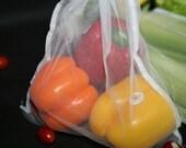 7 white Reusable produce bag set you pick any color ribbon