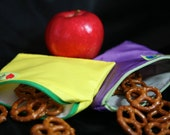 Zip up Snack bag Small 6x5 reusable eco friendly many colors