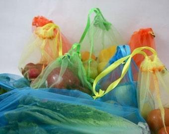 12 Giant set tropical sunset reusable produce bags