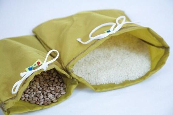 Set 2 Bulk food bags reusable nylon drawstring